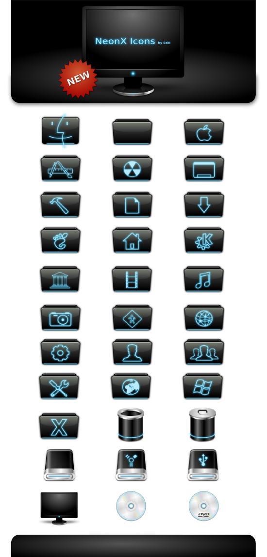 NeonX Icons for Mac OS X by sa-ki