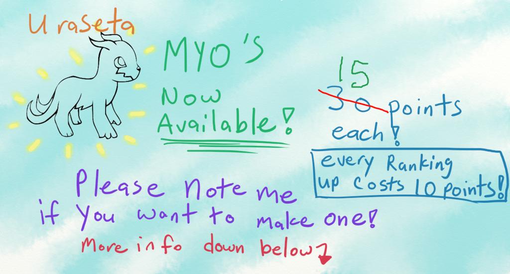 MYO's! Now Lowered! by Cakeferdays