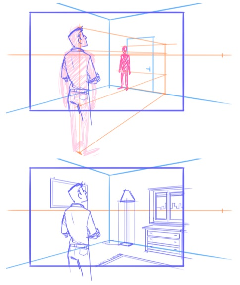 Characters in relation to backgrounds - tutorial by martinacecilia