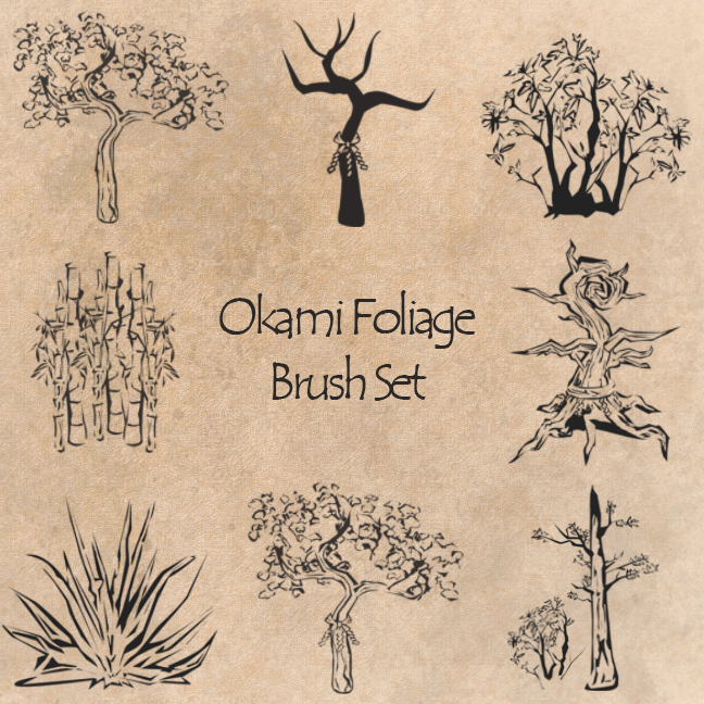 Okami Foliage Brush Set by Skykittens