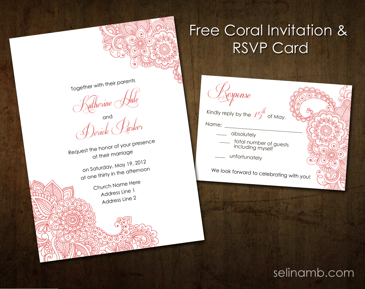 Coral Wedding Invitation + RSVP Printable by selinamb on ...