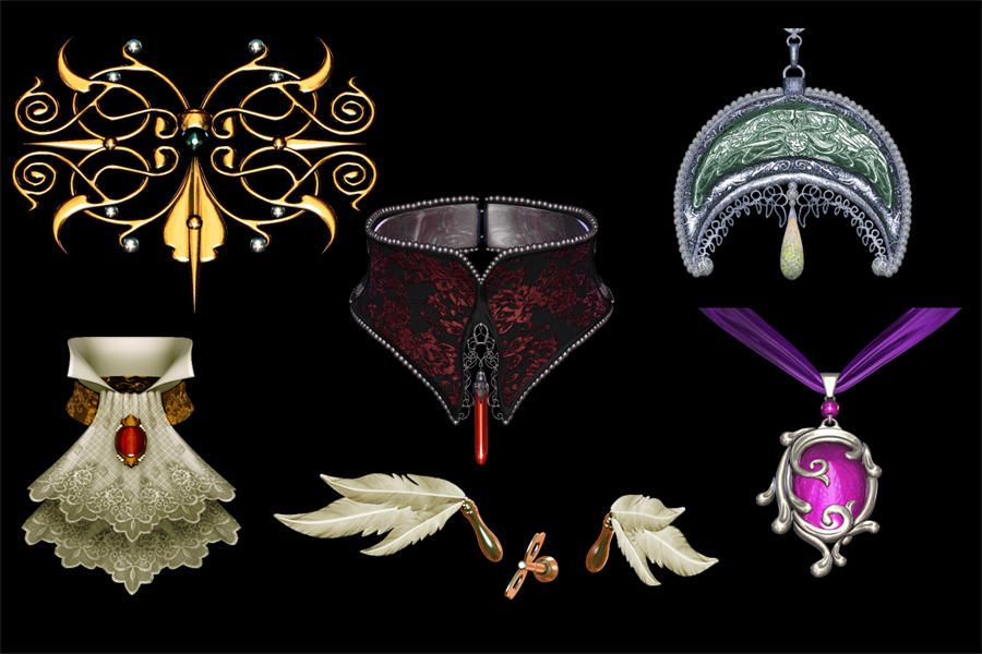 3d accessories stock pack by DemoncherryStock