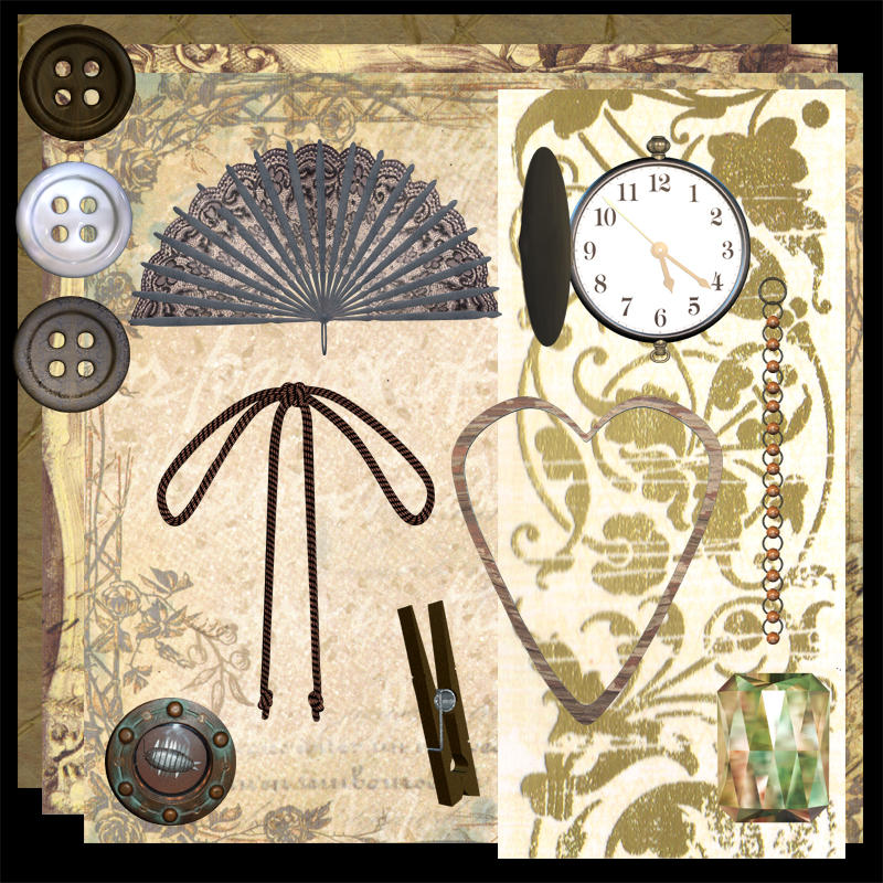 Steampunk Scrapbooking Kit by DemoncherryStock