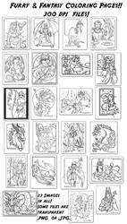Furry and Fantasy Coloring Book Previews