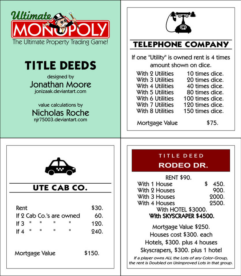 picture relating to Monopoly Chance Cards Printable identified as Best Monopoly Identify Deeds (Printable) via jonizaak upon