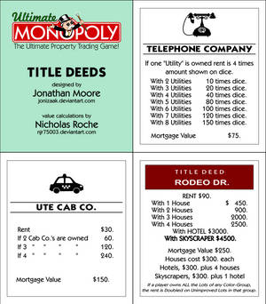 Ultimate Monopoly Title Deeds (Printable)