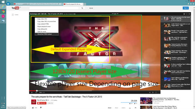 Flexible YouTube video player for Internet explore