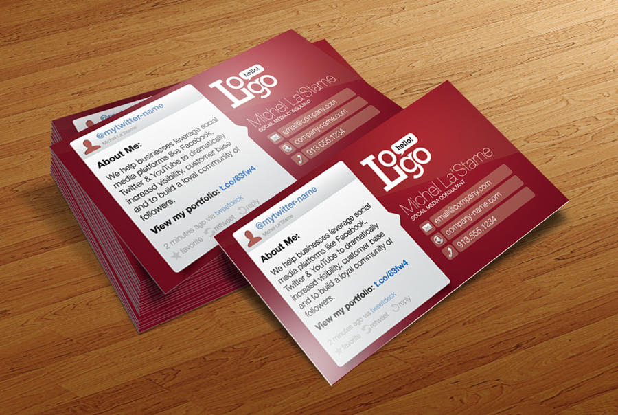 FREE Social Media Business Card Template By CursiveQDesigns On - Social media business card template free