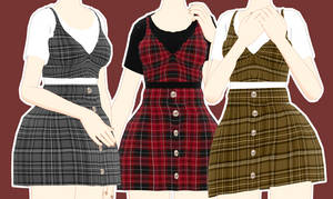 [MMD] Cute Plaid Outfit Download