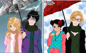 Anime winter couple dress up game by Pichichama
