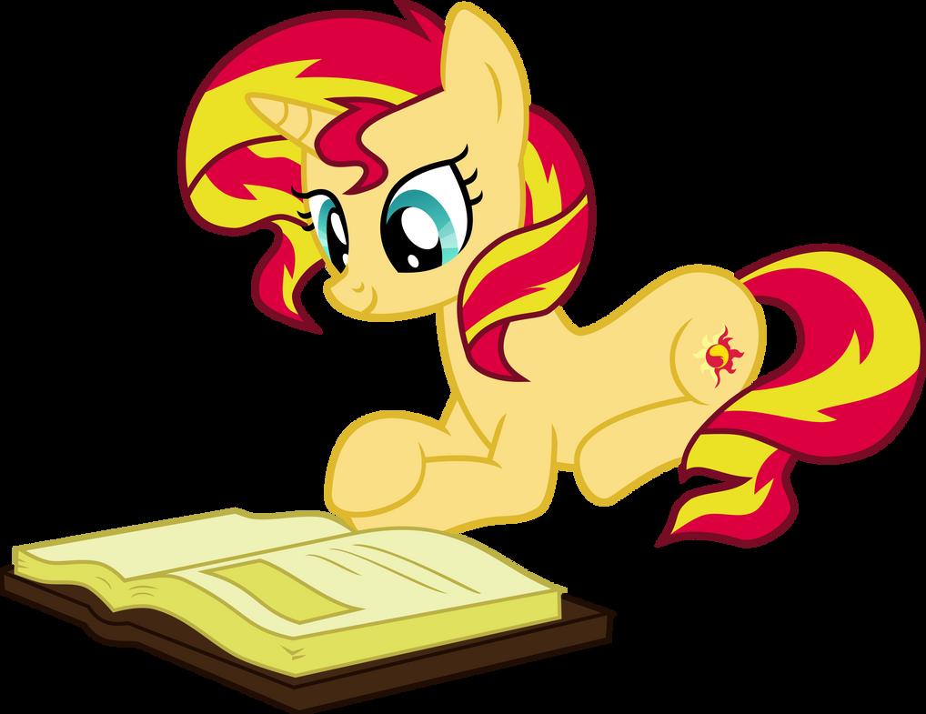 Sunset Shimmer Reading by Elsia-pony