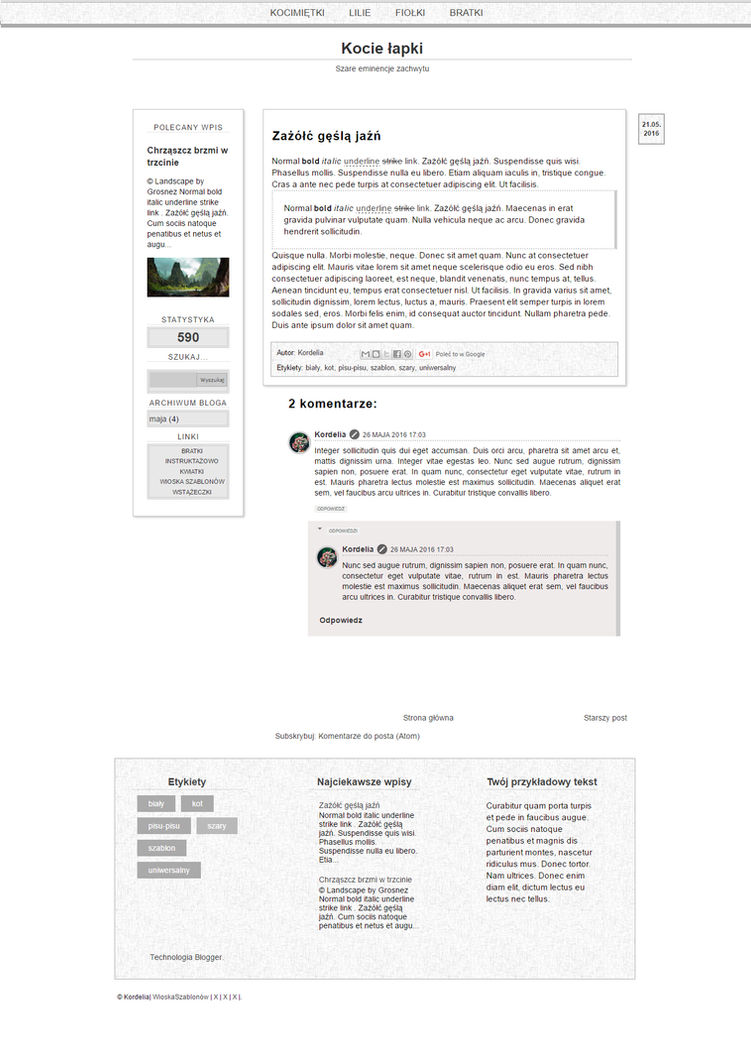 Szare eminencje / Blogger template by Kordeliaws