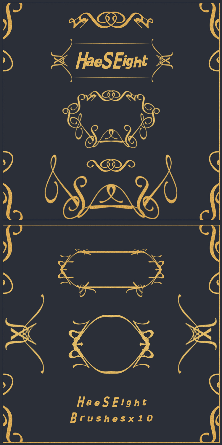 pattern Frame brushes x 10 by LeEight