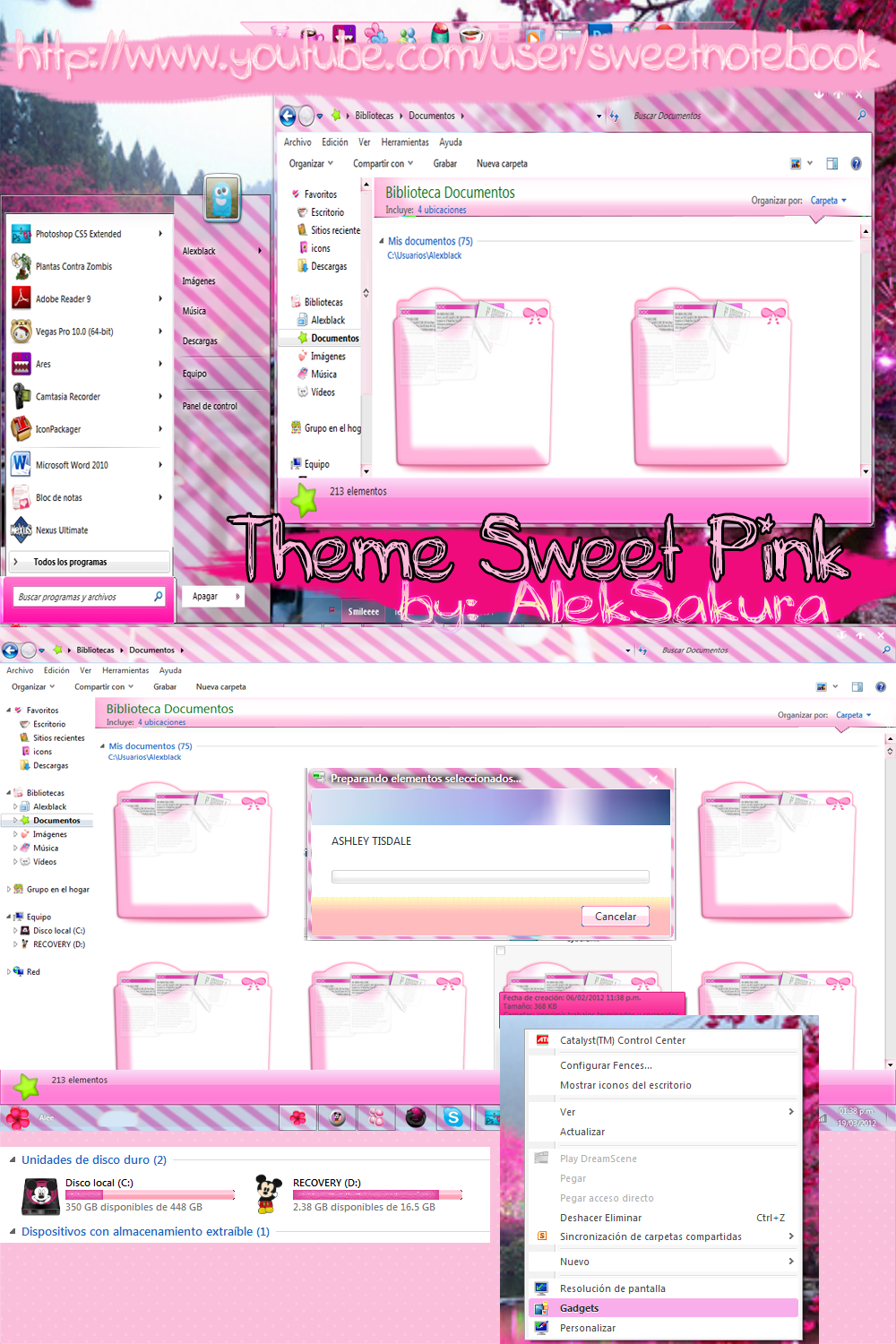 Sweet Pink theme windows 7 by AlekSakura