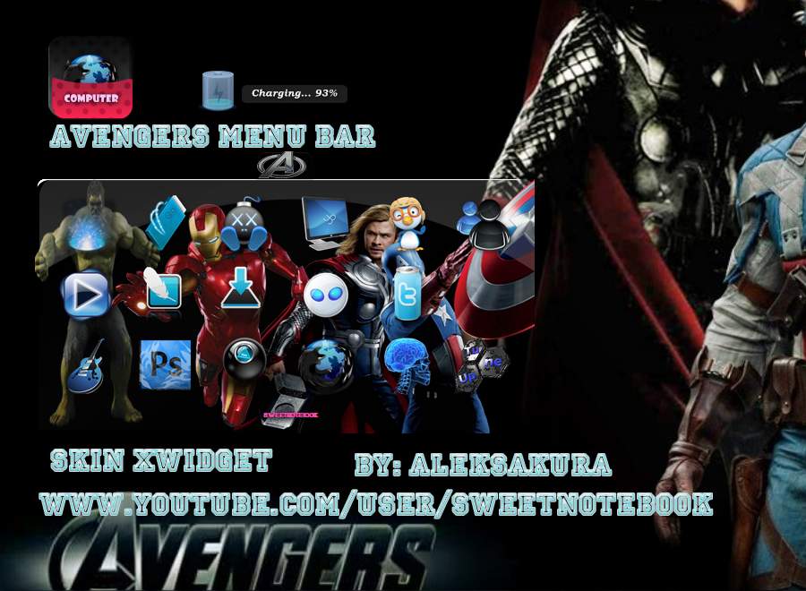 skin xwidget Avengers menu android bar by AlekSakura