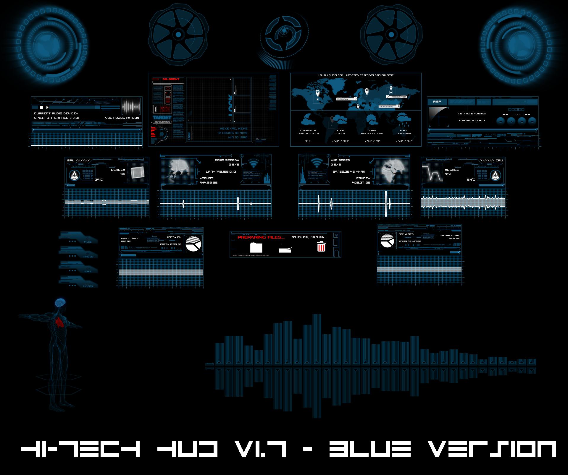 hi tech hud blue by hekee on deviantart. Black Bedroom Furniture Sets. Home Design Ideas