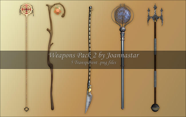 Weapons Pack 2 - Staves by joannastar-stock