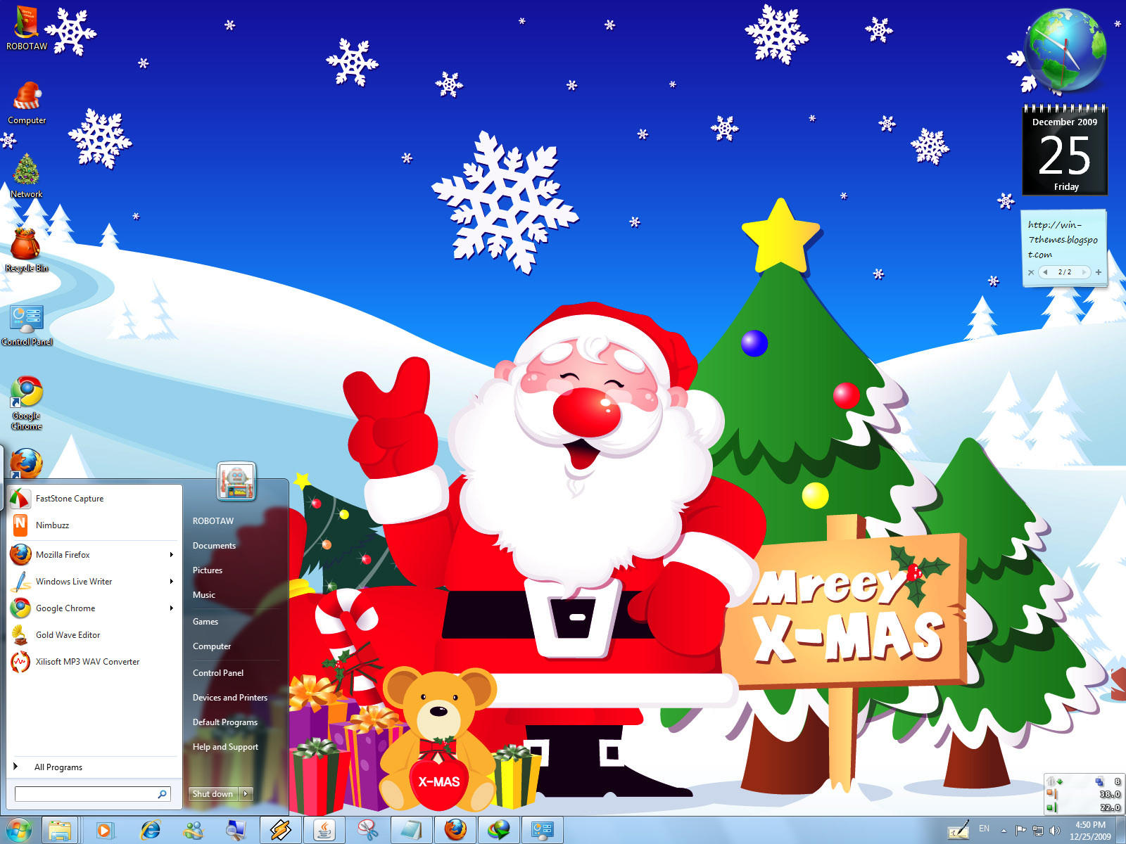 Blue Christmas Windows 7 Theme by yonited