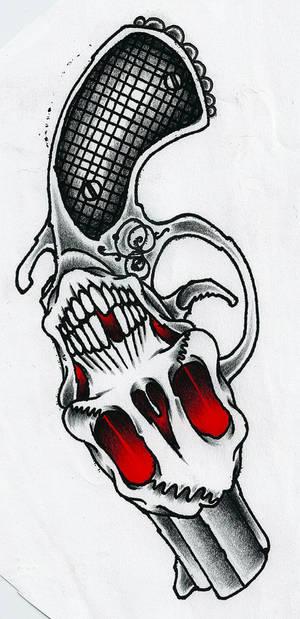 Skull Revolver Vector