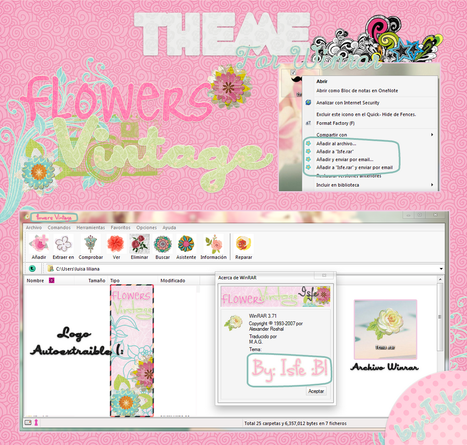 Theme For Winrar Flower Vintage by Isfe
