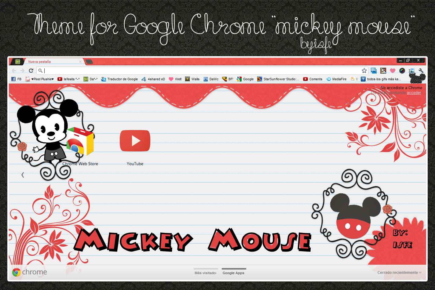 Google themes - Coral M 82 17 Theme For Google Chrome Mickey Mouse By Isfe