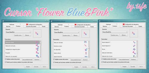 Cursor Flower Blue y Pink by isfe by Isfe