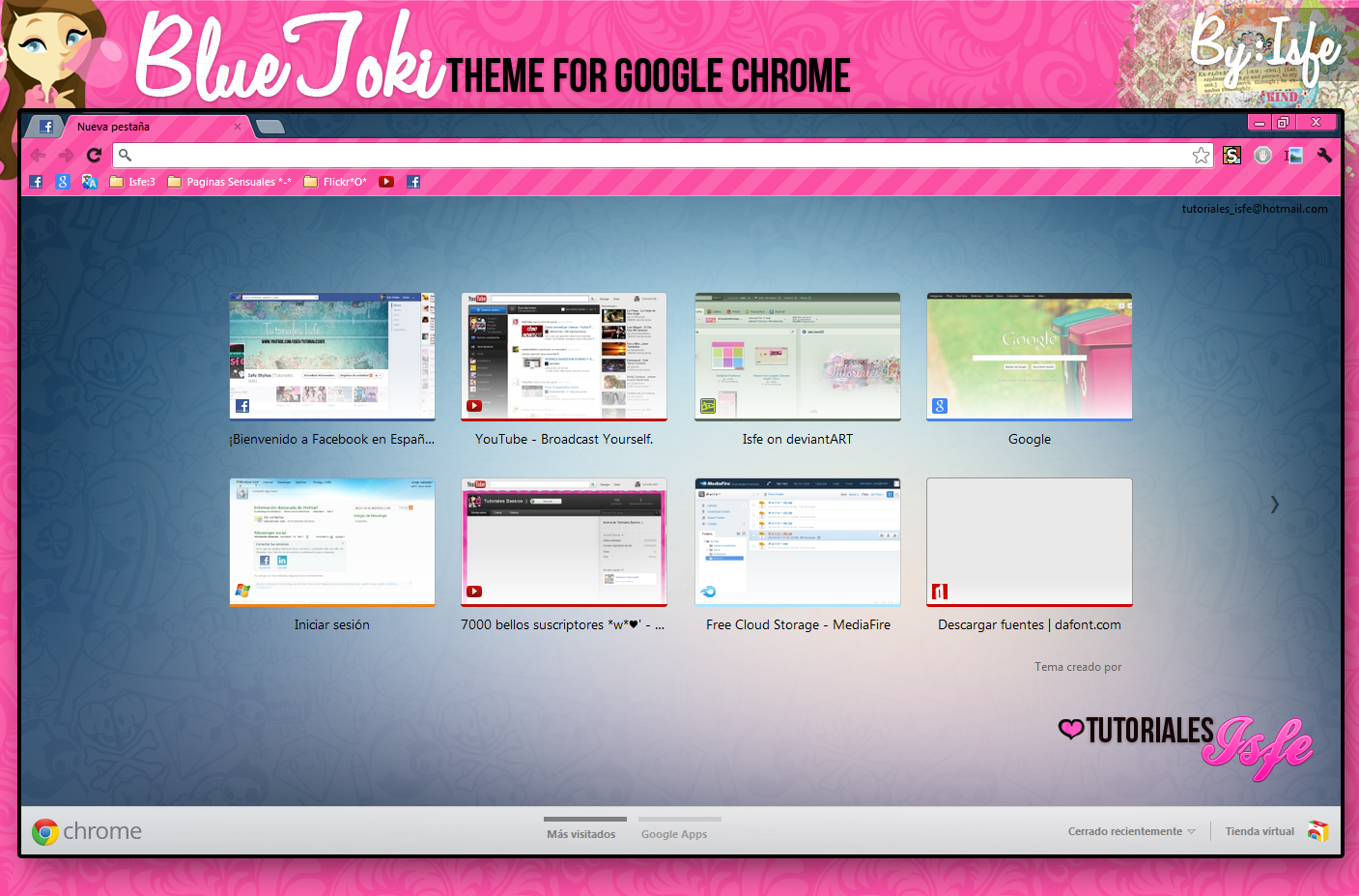 Theme for google chrome Blue toki by Isfe