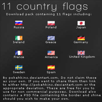 Resource - 11 Country Flags by Pokehkins