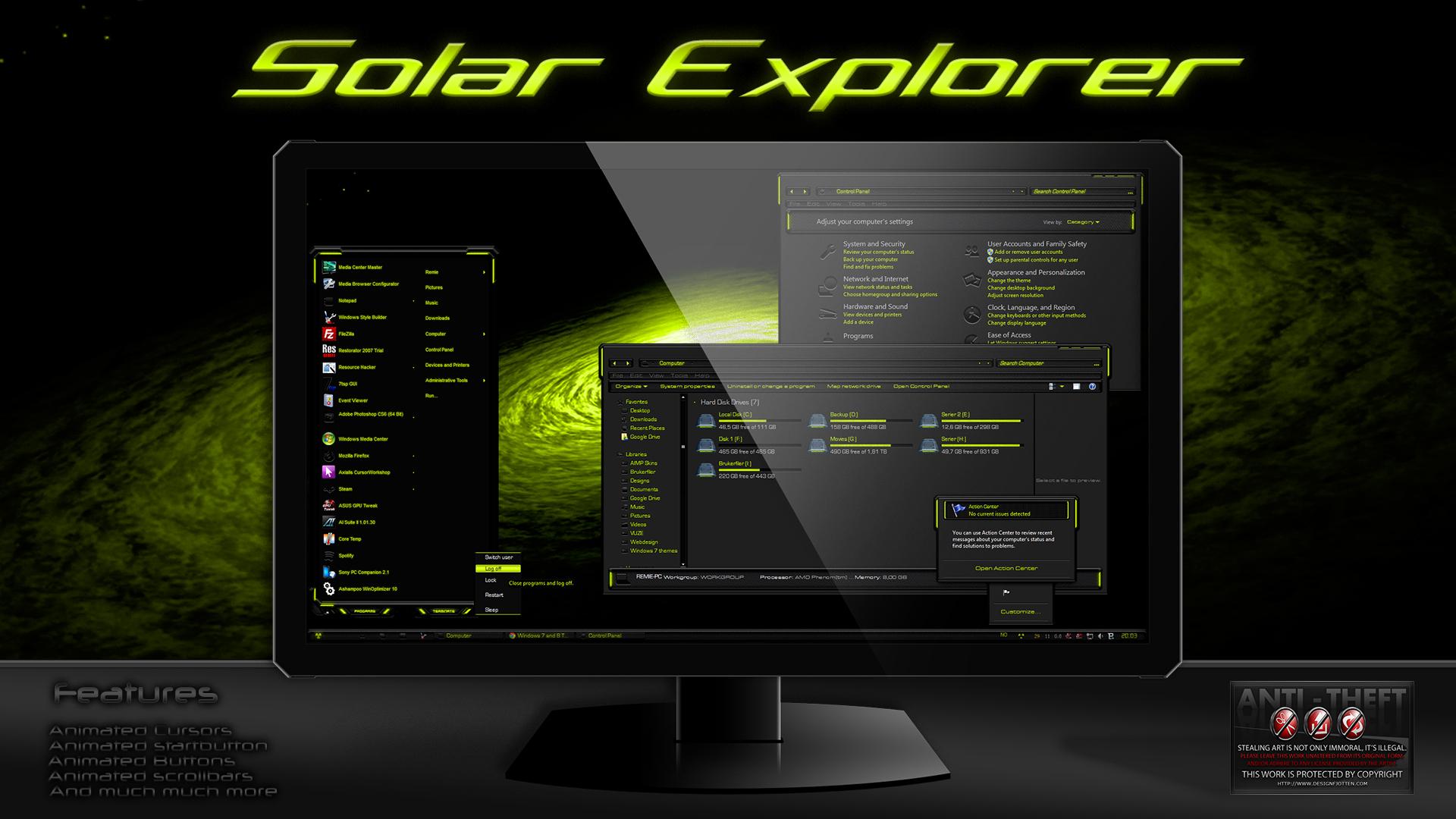 Solar Explorer Theme For Windows7 by Designfjotten by Designfjotten