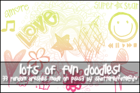 Lots of Fun Doodle brushes by shattered-fate