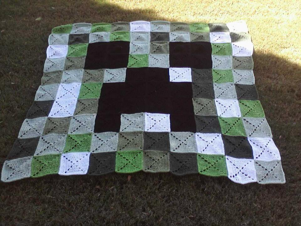 Free Crochet Patterns For Minecraft : Crochet Creeper Blanket Pattern by LilliM00 on DeviantArt