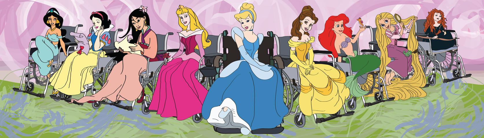 Disney Princesses in Wheel Chairs by Knives420
