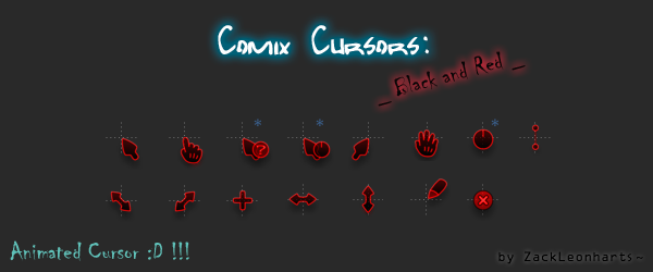 Comix Cursors Black and Red by ZackLeonharts