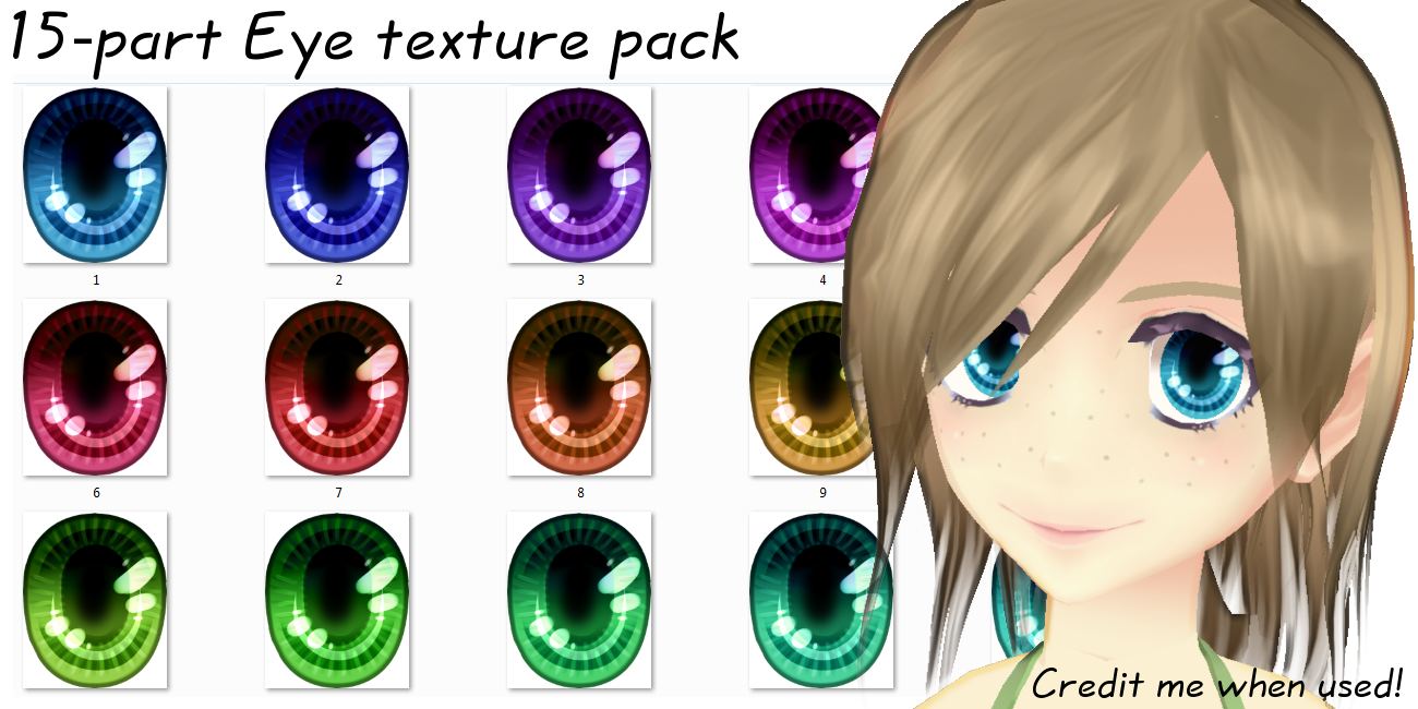 [DOWNLOAD] Luminous Eye texture pack [MMD] by Ziodyyne