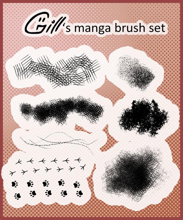 Manga brush set for Photoshop by Gill-ia