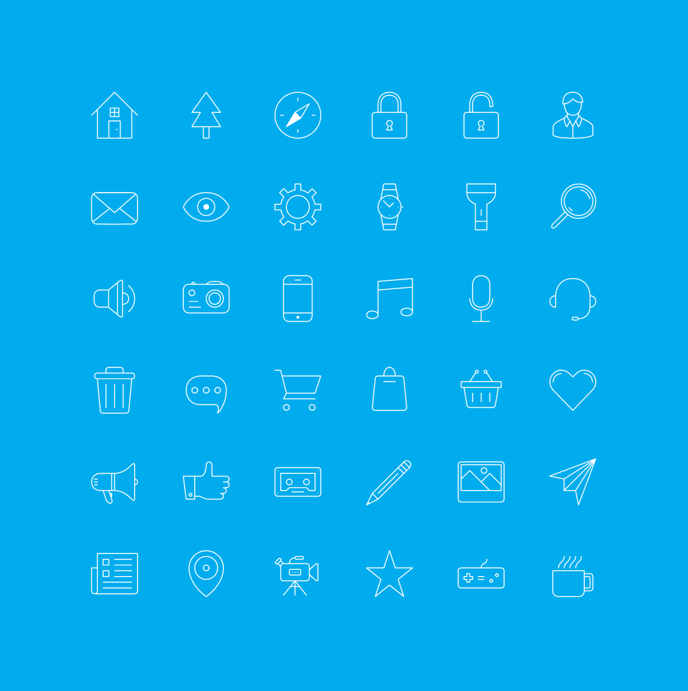 FREE iOS 7 Outline Icons. Fully vector PSD