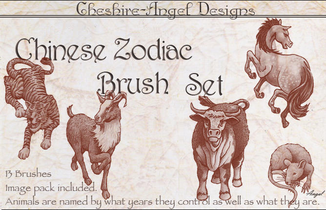 Chinese Zodiac Brush Set by Cheshire-Angel