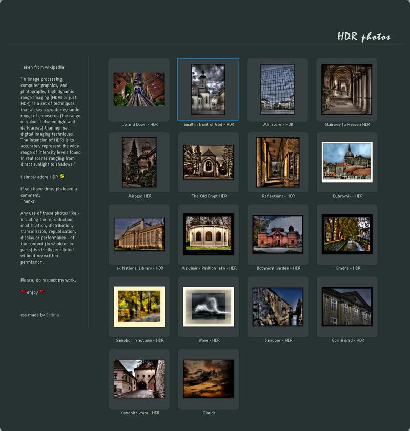 Dark Simplicity - gallery CSS by Sedma