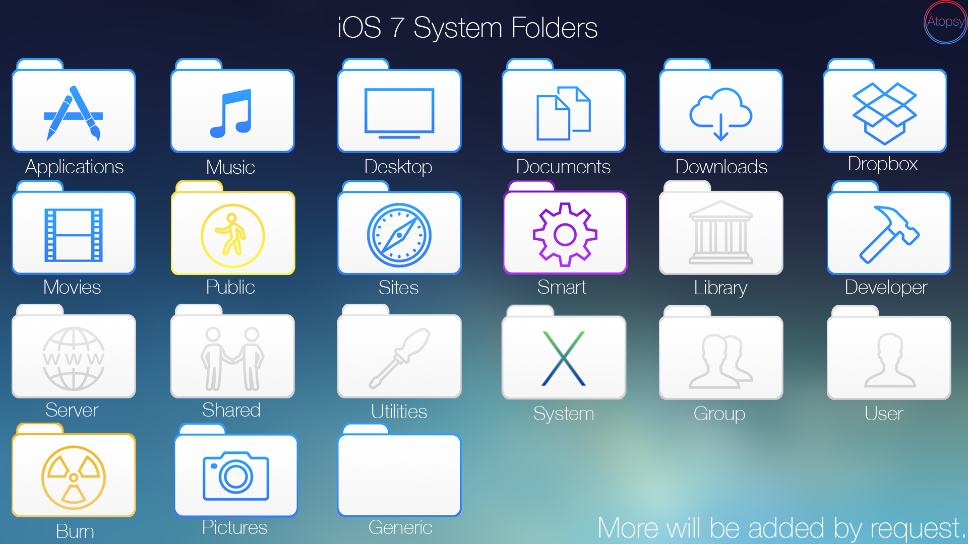 iOS 7 Style System Folders by Atopsy