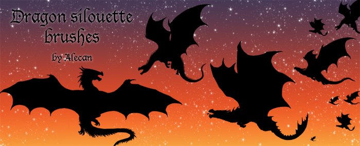 Dragon silouette brush set
