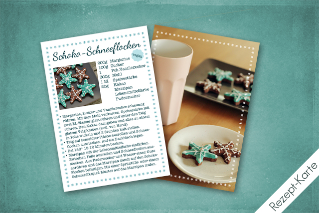 Rezept-Karte ''Schoko-Schneeflocken''