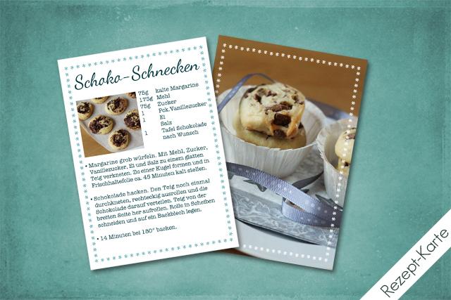 Rezept-Karte ''Schoko-Schnecken''