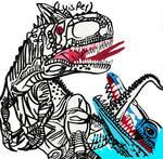 Indominus Rex and Mosasaurus
