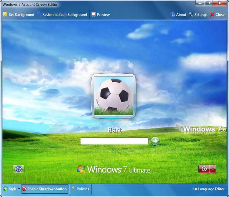 windows logon screen. Windows 7 Logon screen editor