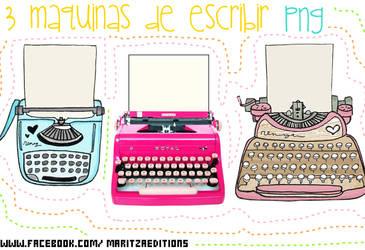3 PNG maquinas de escribir
