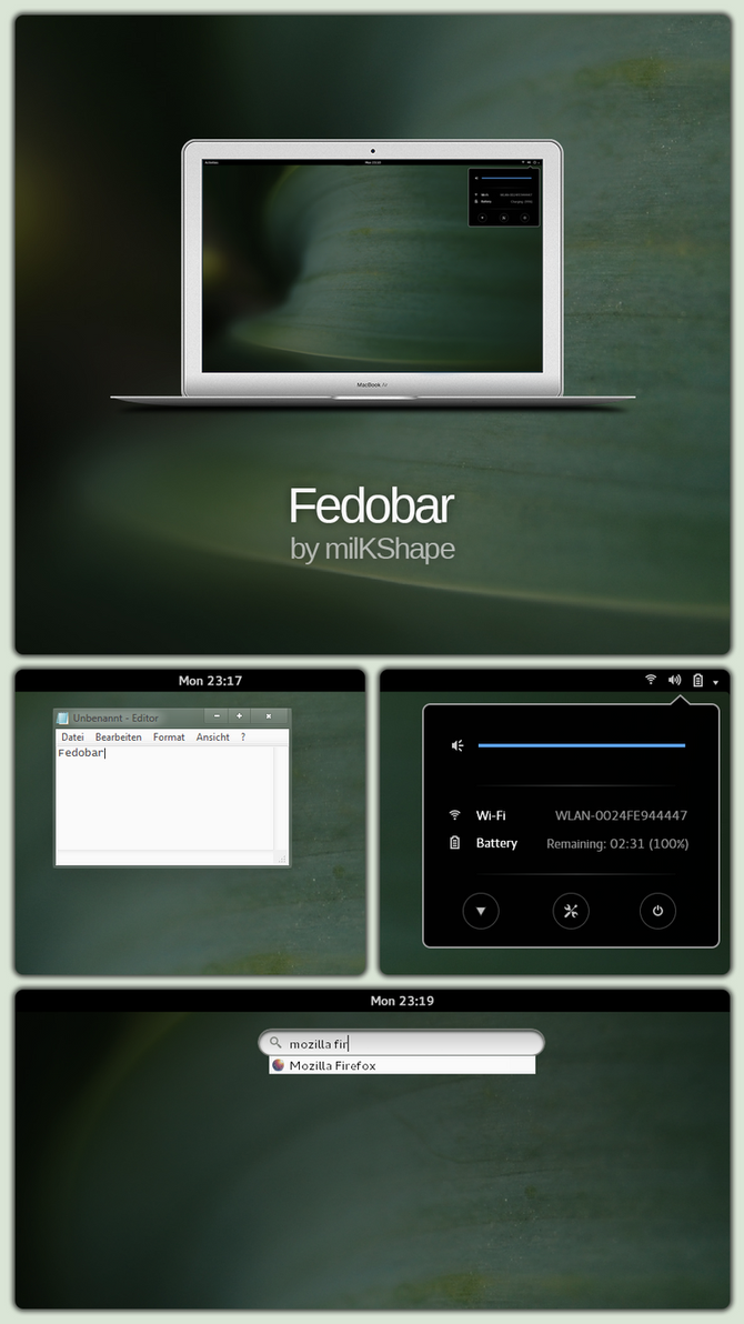 Fedobar (GNOME-like Rainmeter Taskbar Replacement) by milKShape