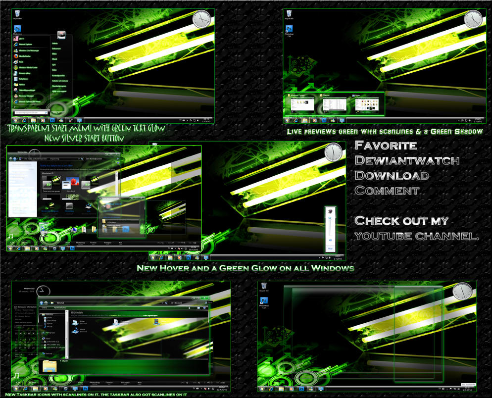 Green Poison Theme for Windows 7