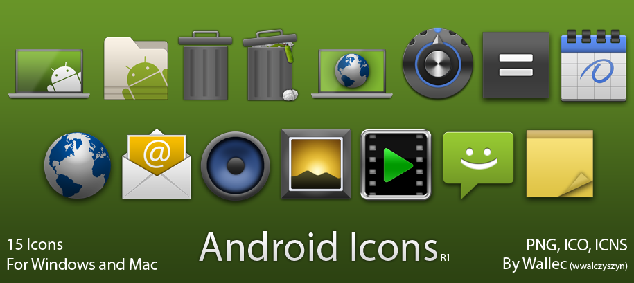 Android style icons for PC and Mac