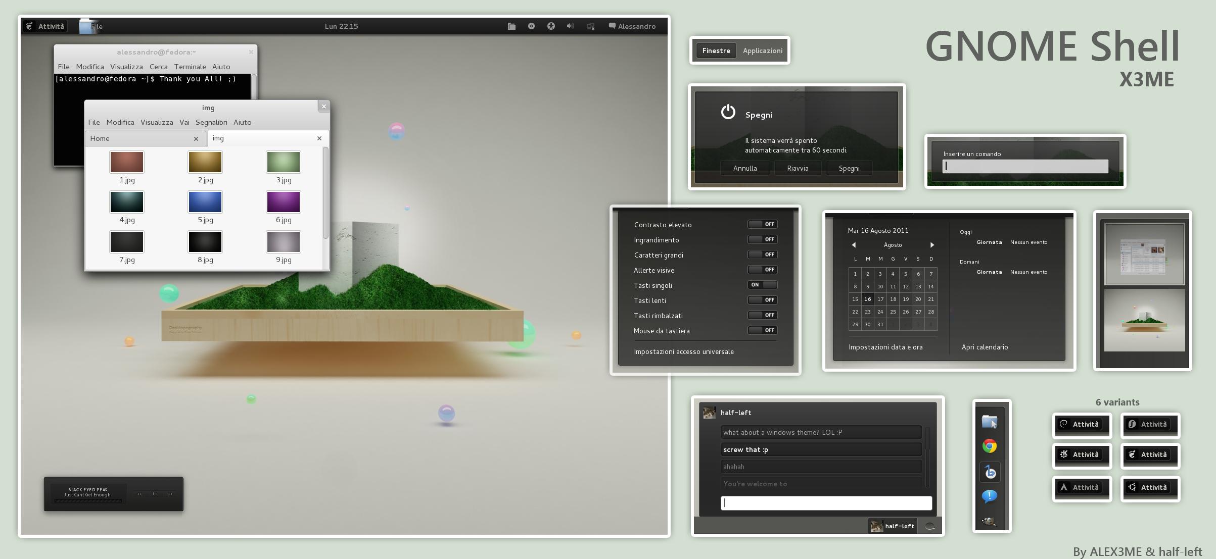 GNOME Shell - X3ME by ALEX3ME