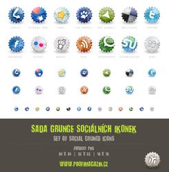 Set of social grunge icons